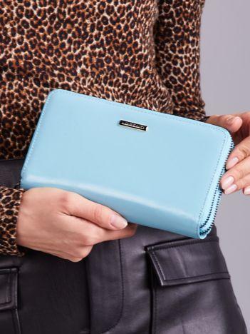 Elegancki damski portfel skórzany jasnoniebieski