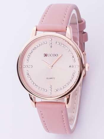 Elegancki różowy zegarek damski z cyrkoniami wokół tarczy