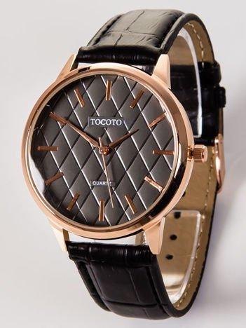 Elegancki zegarek męski z pikowaną tarczą