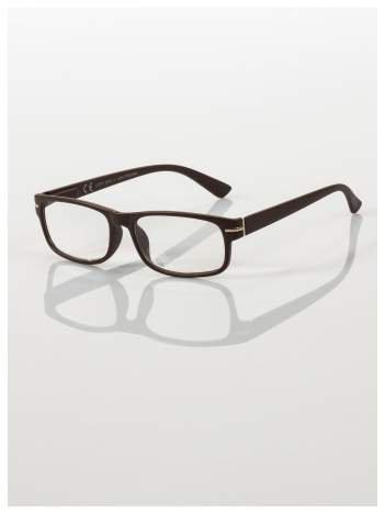 Eleganckie brązowe matowe korekcyjne okulary do czytania +4.0 D  z sytemem FLEX na zausznikach