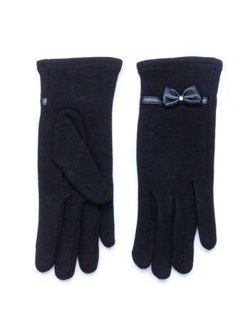 Eleganckie czarne zimowe rękawiczki damskie z kokardą