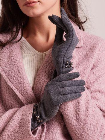 Eleganckie grafitowe rękawiczki ocieplane z ćwiekami