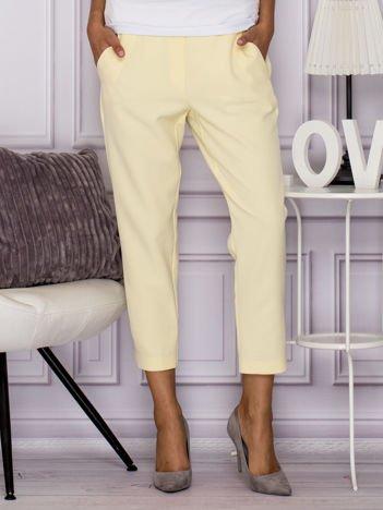 Eleganckie spodnie z kieszeniami żółte