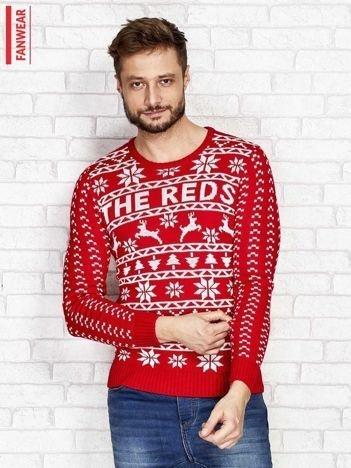 FANWEAR Czerwony sweter męski w norweskie wzory