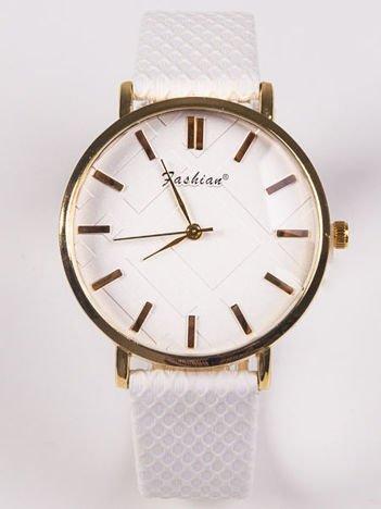 FASHION Damski biały zegarek z tłoczoną tarczą