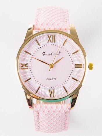 FASHION Damski różowy zegarek z tłoczoną tarczą i ozdobnym paskiem