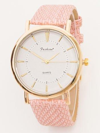 FASHION różowy zegarek z wytłaczanym paskiem