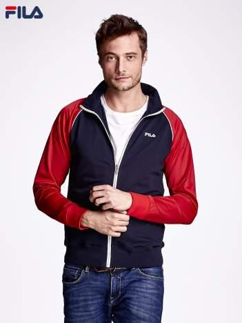 FILA Granatowa bluza męska z kolorowymi rękawami