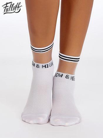 FULLOFF Białe skarpetki z transparentną wstawką i napisem HIGH & LOW