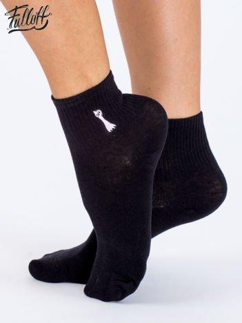 FULLOFF Czarne skarpety bawełniane z ozdobnymi naszywkami