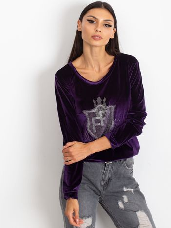 Fioletowa aksamitna bluza z herbem z dżetów