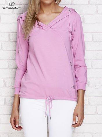 Fioletowa bluza z kapturem i troczkami