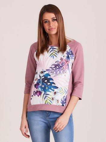 Fioletowa bluza z motywem egzotycznych roślin