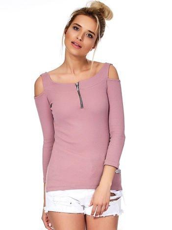 Fioletowa bluzka off shoulder z suwakiem