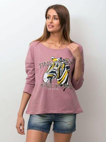 Fioletowa bluzka z zwierzęcym nadrukiem i perełkami