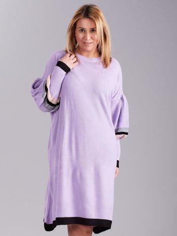 Fioletowa dzianinowa sukienka PLUS SIZE