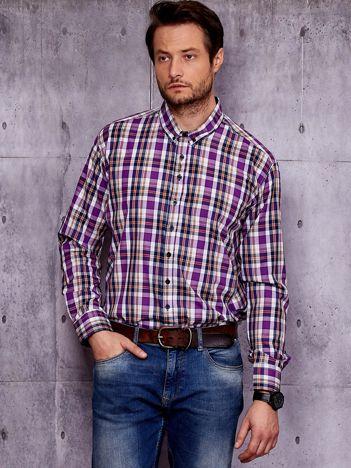 Fioletowa koszula męska w kolorową kratę PLUS SIZE