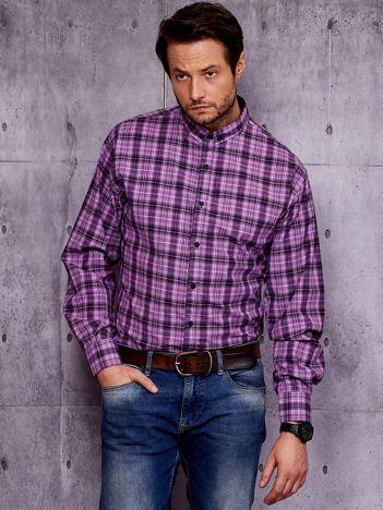 Fioletowa koszula męska w kratę PLUS SIZE
