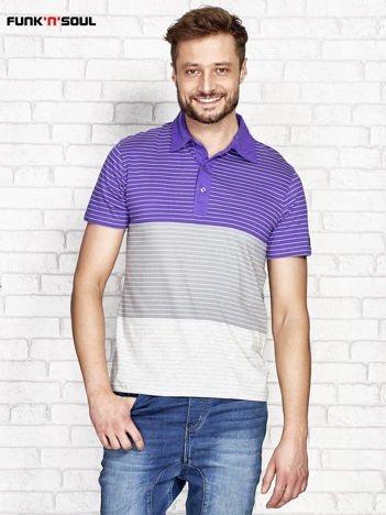 Fioletowa koszulka polo męska w paski FUNK N SOUL