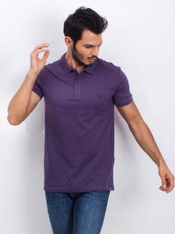 Fioletowa męska koszulka polo Numerous