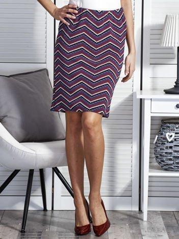 Fioletowa spódnica w kolorowe geometryczne wzory
