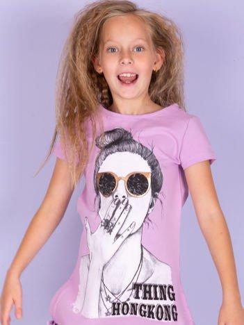 Fioletowa sukienka dla dziewczynki z nadrukiem