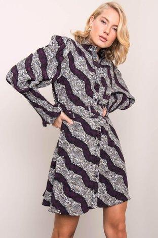 Fioletowa sukienka we wzory BSL