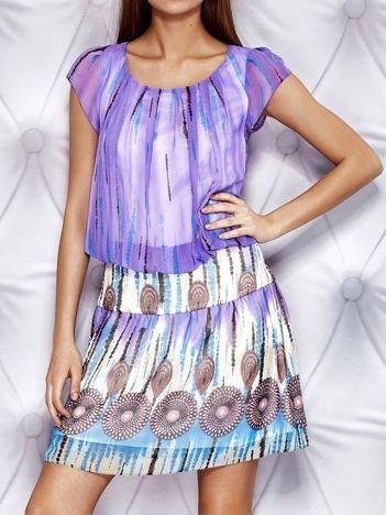 Fioletowa wzorzysta sukienka z obniżonym stanem