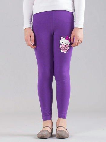 Fioletowe dziewczęce legginsy z nadrukiem HELLO KITTY