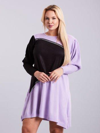 Fioletowo-czarna sukienka dzianinowa PLUS SIZE
