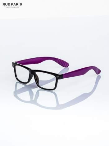 Fioletowo-czarne okulary zerówki kujonki typu WAYFARER NERDY