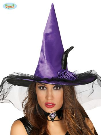 Fioletowo-czarny kapelusz czarownicy