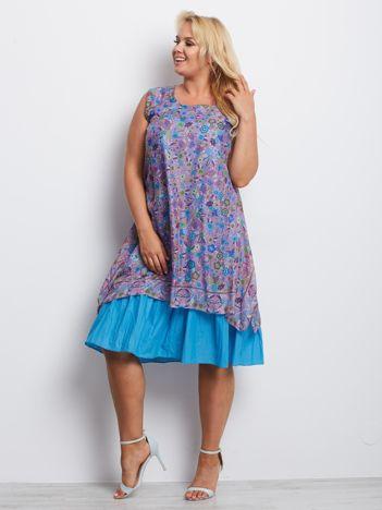 Fioletowo-niebieska sukienka plus size Dakota