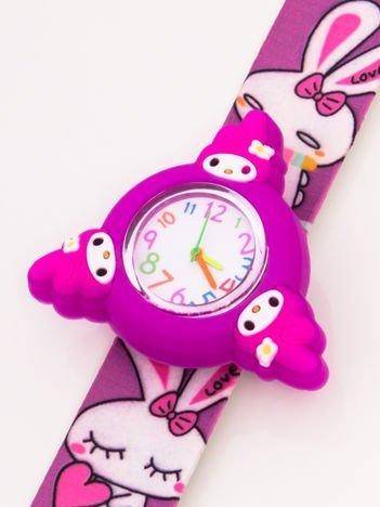 Fioletowy OBROTOWY zegarek dziecięcy z paskiem typu SLAP