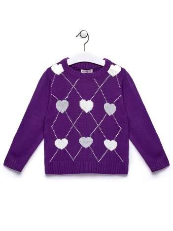 Fioletowy sweter dla dziewczynki z motywem serduszek