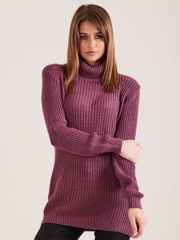 Fioletowy sweter golf