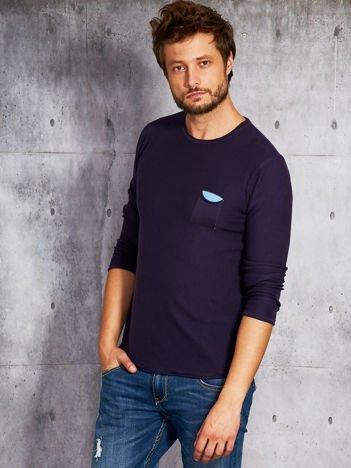 Fioletowy sweter męski z kieszonką