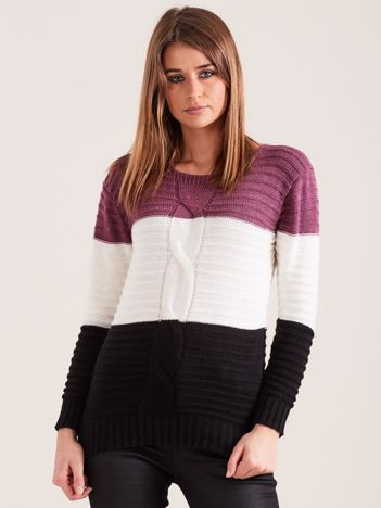 Fioletowy sweter w szerokie pasy