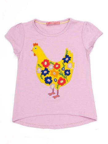 Fioletowy t-shirt dziewczęcy z naszywką kury