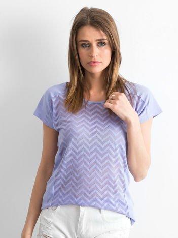 Fioletowy t-shirt w zygzaki