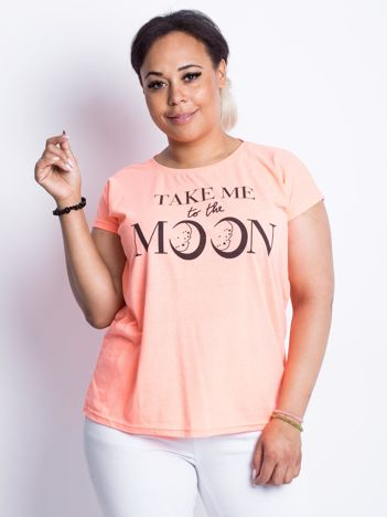 Fluo brzoskwiniowy t-shirt plus size Moonraker
