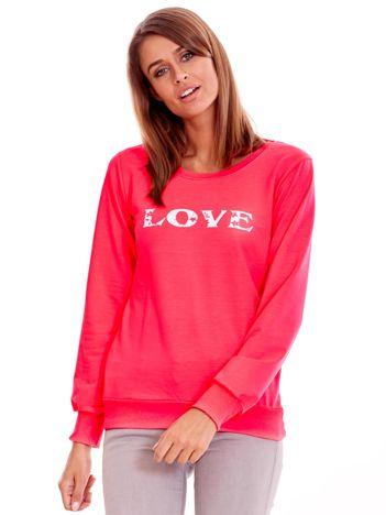 Fluo różowa lekka bluza z napisem LOVE