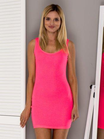 Fluo różowa prążkowana sukienka