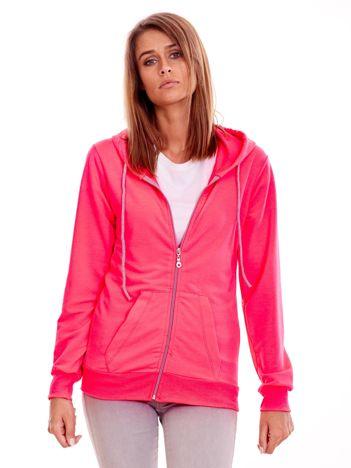 Fluo różowa rozpinana bluza z kapturem