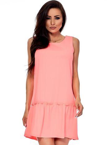 Fluo różowa sukienka z falbaną i wiązaniem na plecach