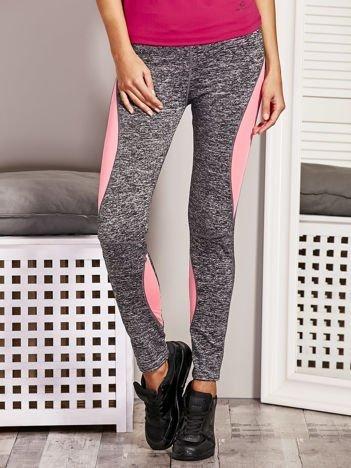 Fluo różowe legginsy melange z kolorowymi wstawkami