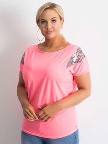 Fluo różowy t-shirt Magically PLUS SIZE
