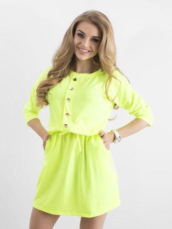 Fluo zielona bawełniana sukienka