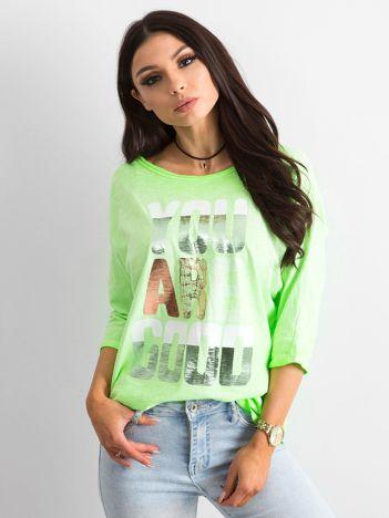 Fluo zielona bluzka z kolorowym napisem