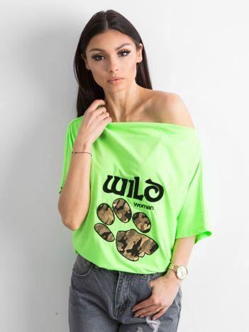 Fluo zielona bluzka z motywem zwierzęcym